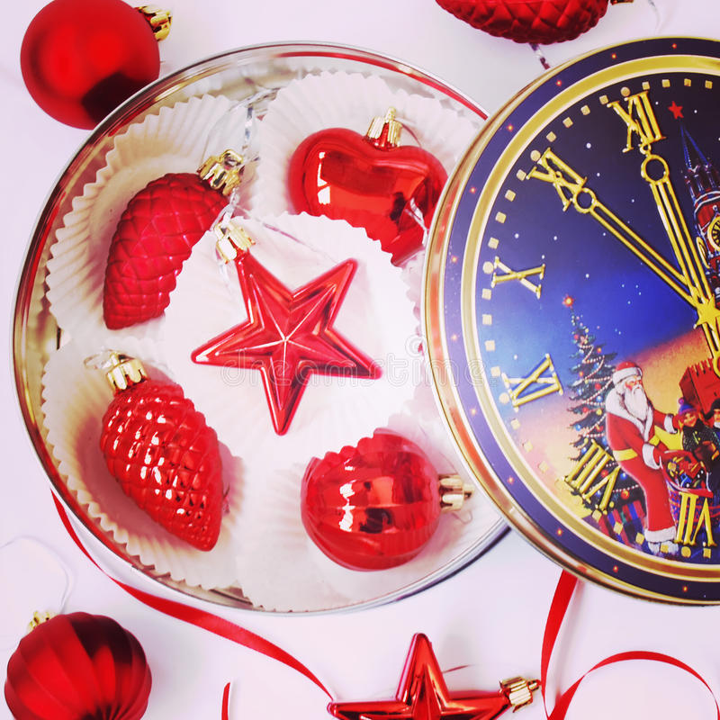 Red christmas toys. On the box stock image