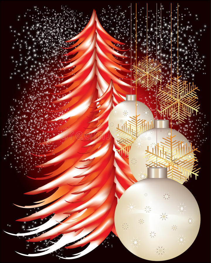 Download Red christmas tree stock vector. Image of tree, baubles - 22036625