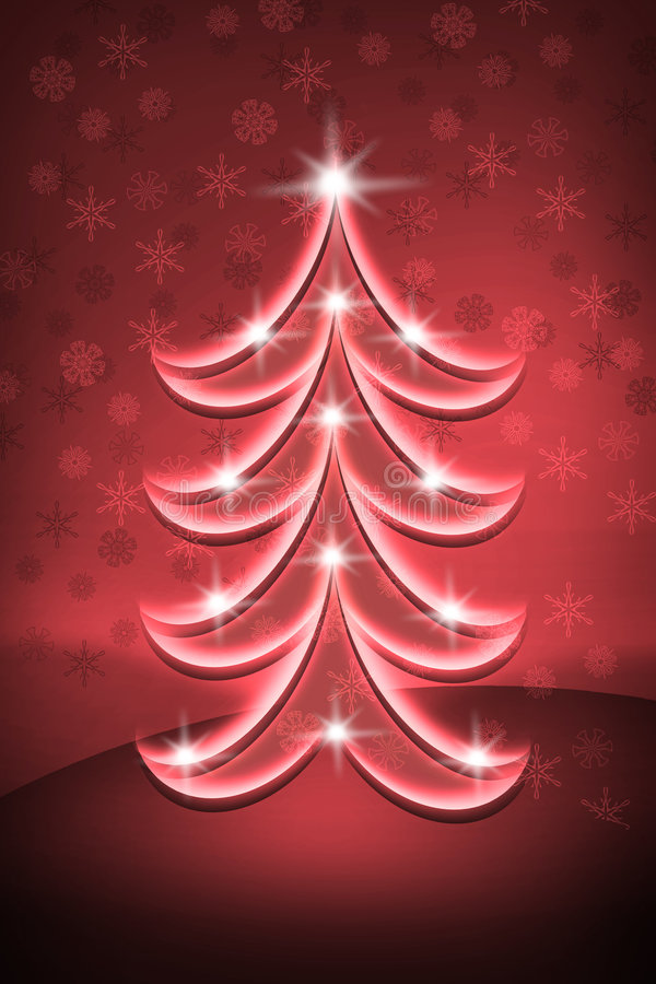 Red Christmas tree royalty free illustration