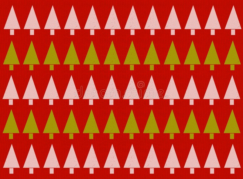 Red Christmas Tree Background. A background pattern featuring rows of Christmas trees in green and white set against a red sweater textured background royalty free illustration