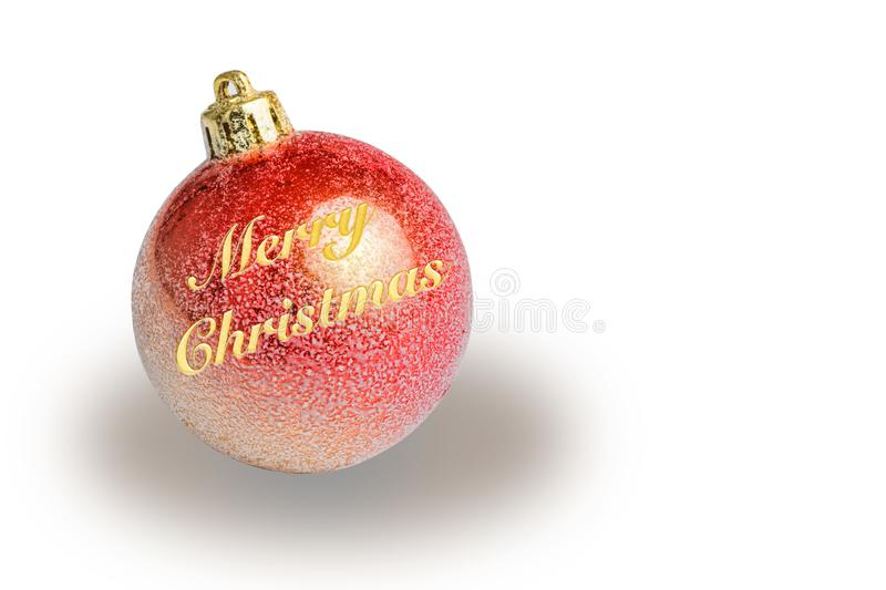 Red christmas tree ball withe marry christmas. On white background stock images