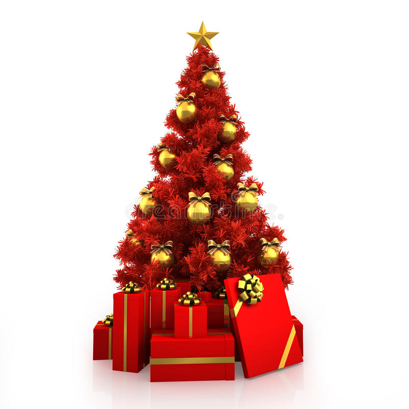 Christmas Tree Red White: Red Christmas Tree With Gold Decor On White Background