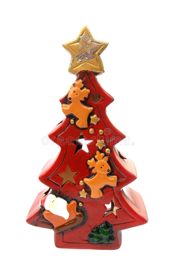 Red Christmas tree lantern for candle
