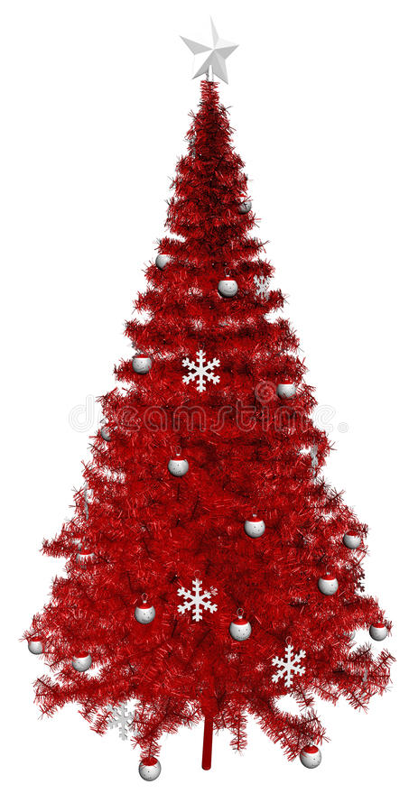 Download Red Christmas Tree, White Star Stock Illustration - Image: 27090573