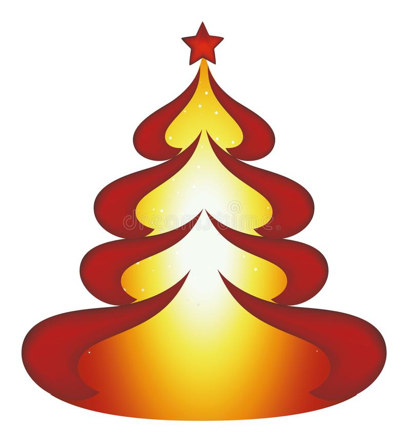 Red Christmas vector tree with stars in the background and a star on top vector illustration