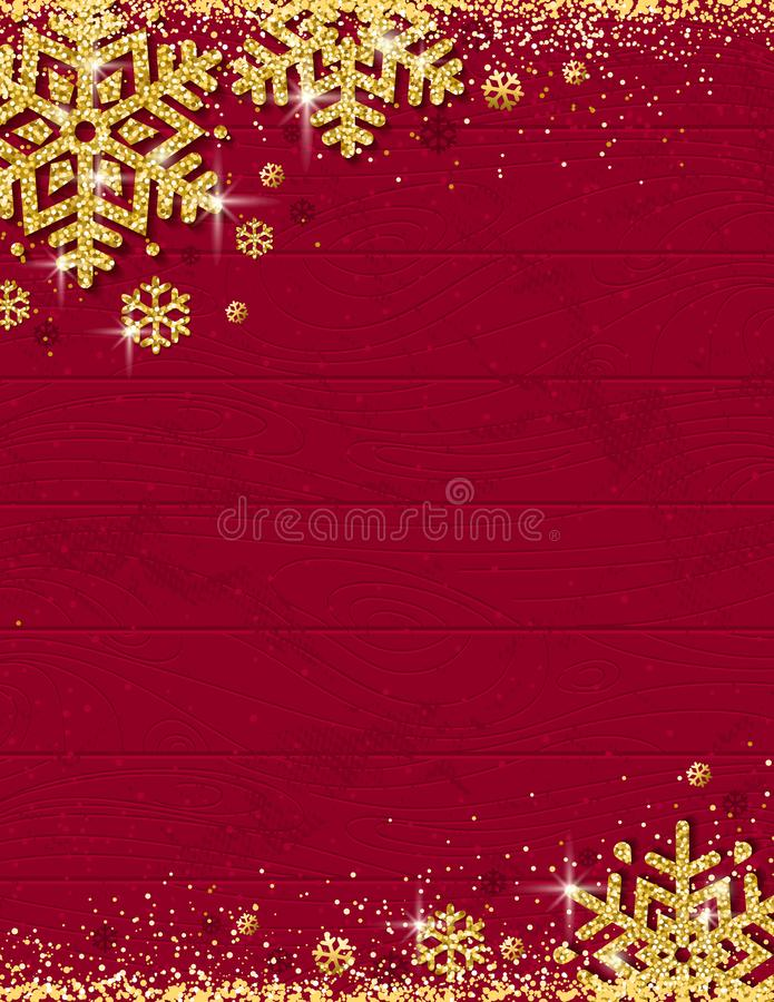Red christmas wooden background with frame of gold glittering sn. Owflakes, vector illustration stock illustration