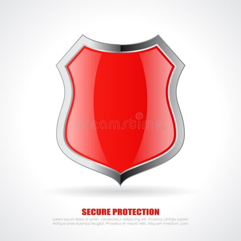 Red chrome shield icon stock illustration
