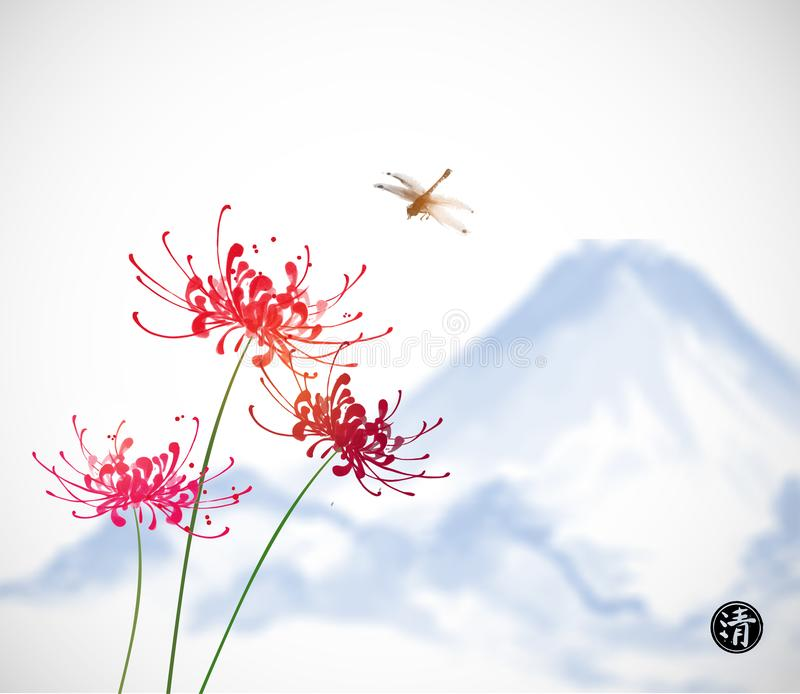 Red chrysanthemum flowers, dragonfly and blue mountain. Traditional oriental ink painting sumi-e, u-sin, go-hua royalty free illustration