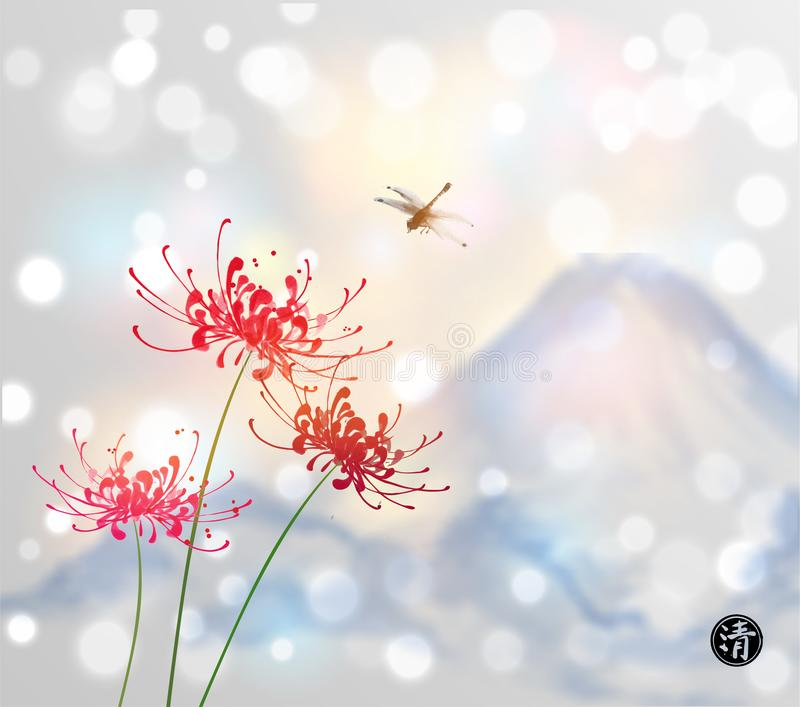 Red chrysanthemum flowers, dragonfly and blue mountains on white glowing background. Traditional Japanese ink painting vector illustration