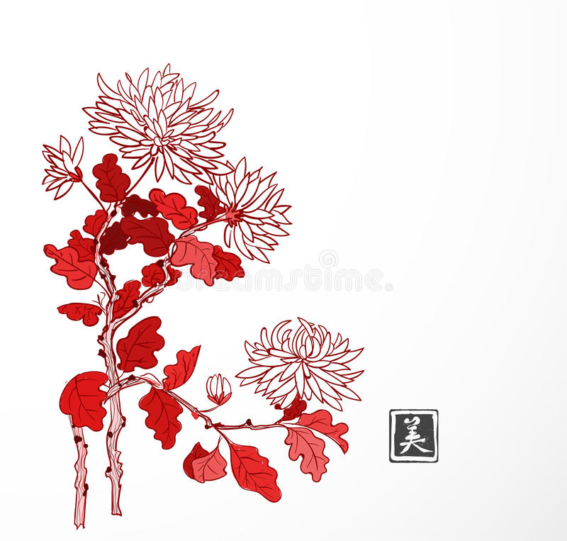 Red chrysanthemum flowers in oriental style on white background. Traditional oriental ink painting sumi-e, u-sin, go-hua vector illustration