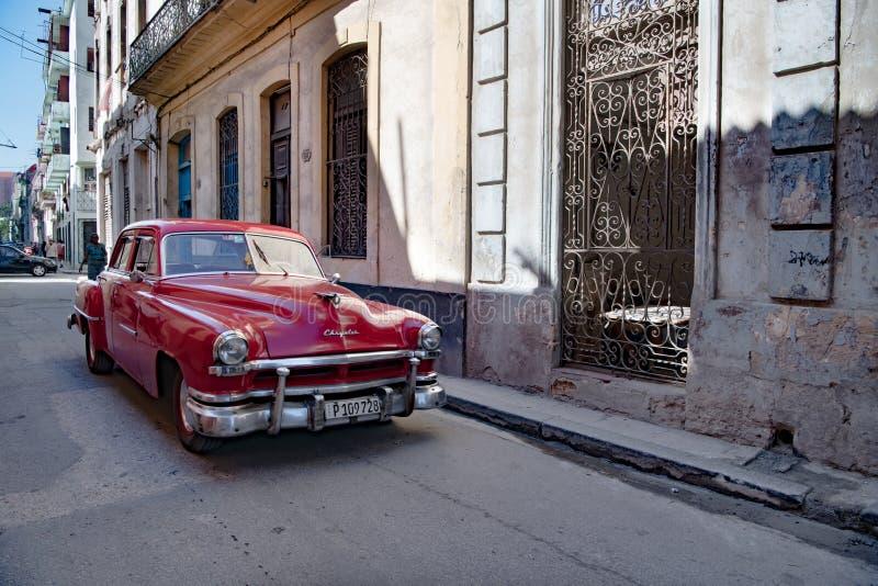 Red Chrysler classic car, American classic car, Chrysler, Cuba stock images