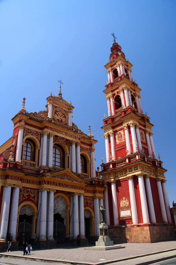 Red Church in Salta. Church in the argentinian city of Salta, Argentina royalty free stock image