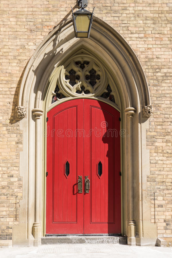 The red church door royalty free stock photo