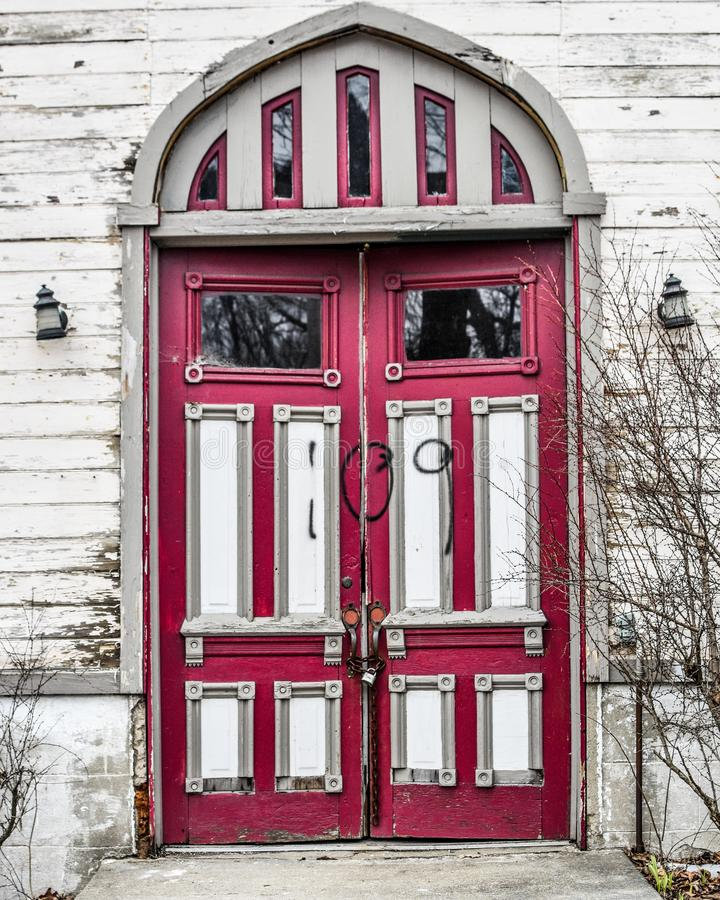 Old Abandoned Church Doors - Janesville, WI royalty free stock photo
