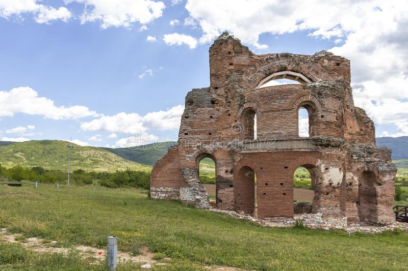 The Red Church - Ruins of early Byzantine Christian basilica near town of Perushtitsa, Bulgaria royalty free stock image