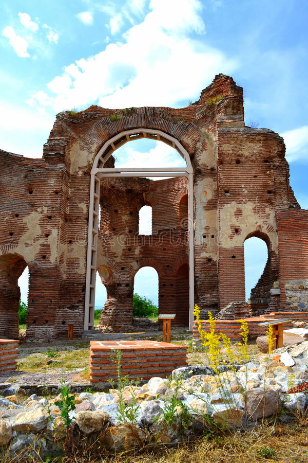 Red church ruins royalty free stock photos