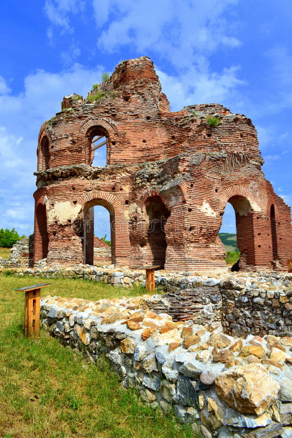 Red church ruins royalty free stock images