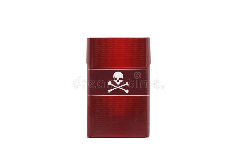 Red cigarette pack with a skull and crossbones logo stock photo
