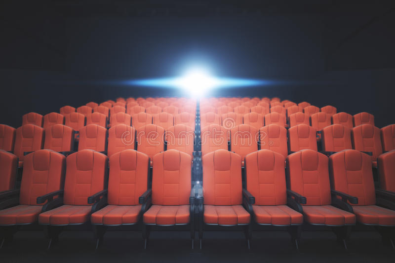 Red cinema chairs front. Front view of red cinema chairs on dark background with projector. Movie concept. 3D Rendering vector illustration