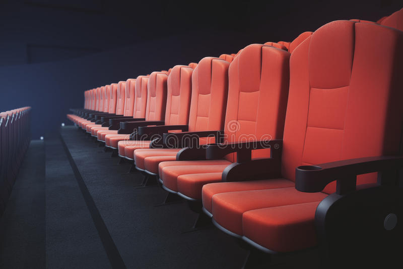 Red cinema chairs seats. Side view of red cinema seats on dark background with projector. Movie concept. 3D Rendering royalty free illustration