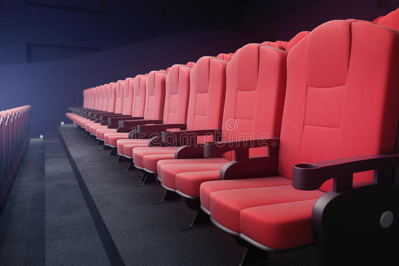 Red cinema chairs side. Side view of red cinema chairs on dark background with projector. Movie concept. 3D Rendering vector illustration