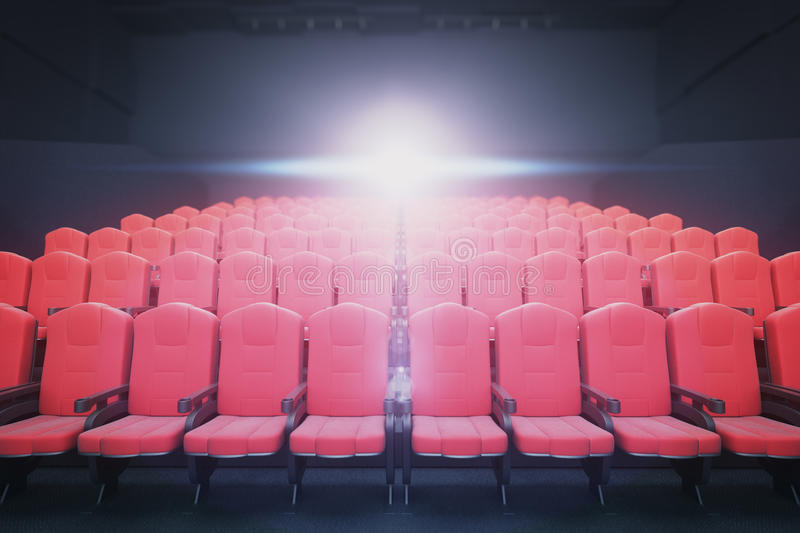 Red cinema seats front. Front view of red cinema seats on dark background with projector. Movie concept. 3D Rendering royalty free illustration