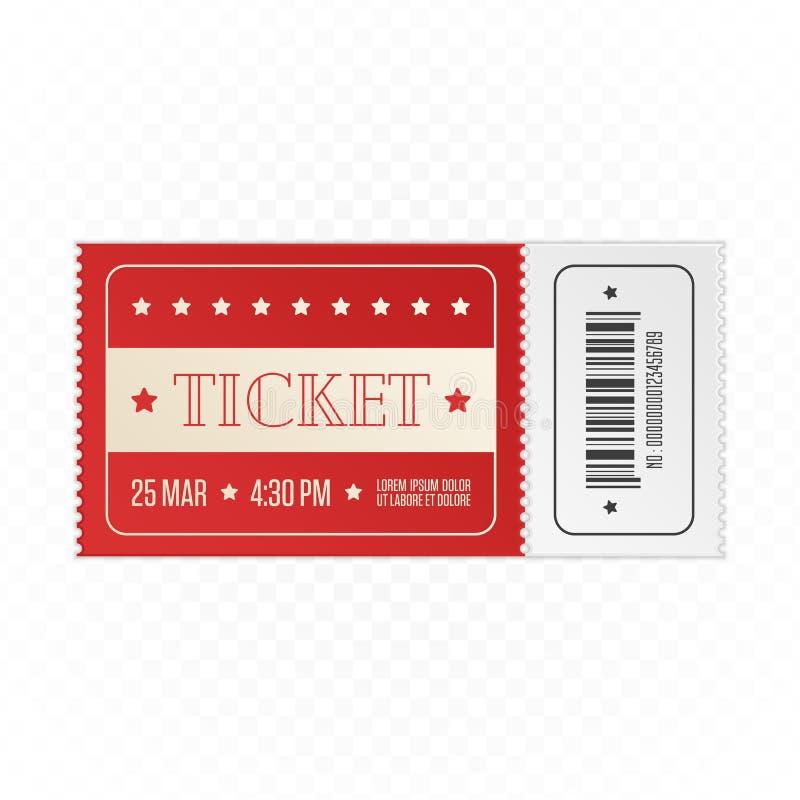Red cinema ticket. stock illustration