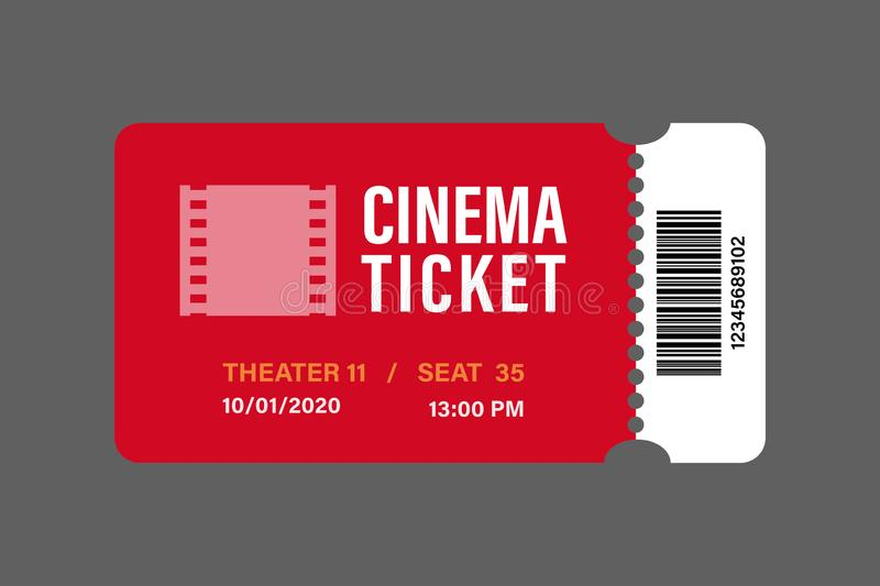 Red cinema tickets icon vector illustration designed in the flat style. One, art, new, white, old, modern, template, number, site, permission, website royalty free stock images