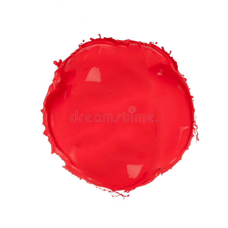 Red circle. Isolated shot of red paint blob on white background royalty free stock photos