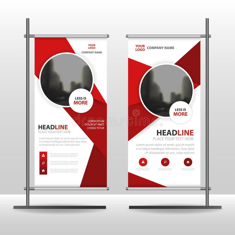 Red circle Business Roll Up Banner flat design template ,Abstract Geometric banner template Vector illustration set. Abstract presentation brochure flyer vector illustration