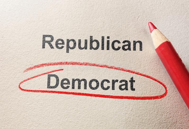 Red circle Democrat. Red circle around Democrat, with Conservative text stock photography