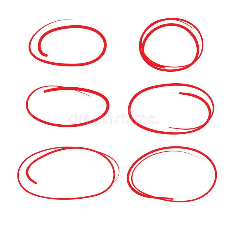 Free Red Circle Grading Marks With Swoosh Feel - Marking Up Papers Royalty Free Stock Photos - 108464248