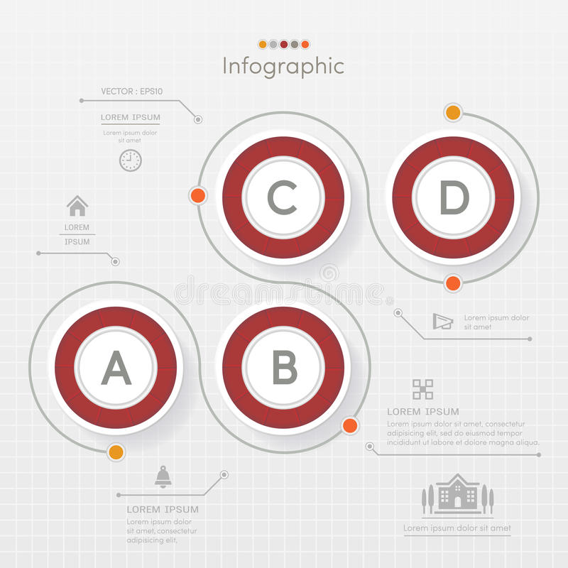 Red Circle Infographics design template with icons, process diagram, vector eps10 illustration stock illustration