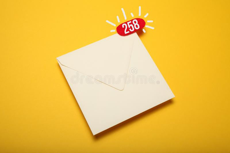 Red circle on mail letter, communication concept. Address correspondence.  stock image