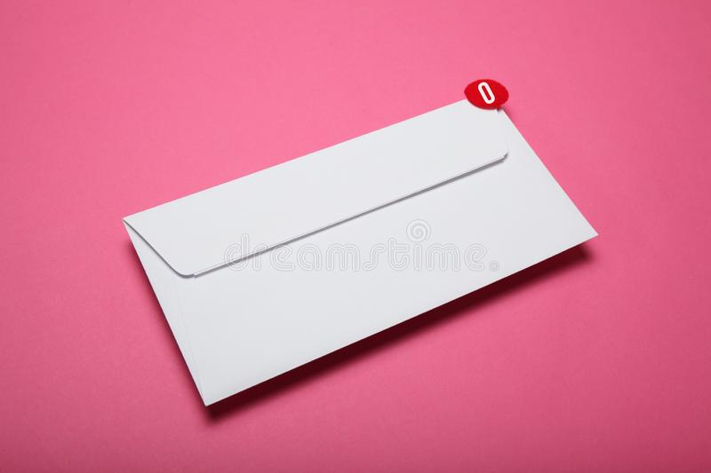 Red circle on mail letter, communication concept. Address correspondence.  royalty free stock image