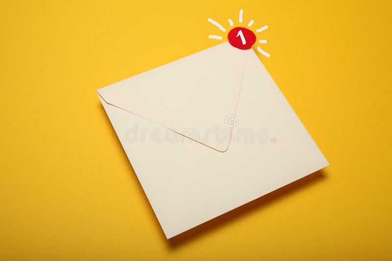 Red circle on mail letter, communication concept. Address correspondence.  stock photo