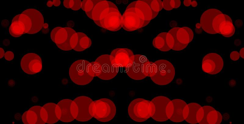 Red circles on black background. Abstract bokeh background illustration. Beautiful red abstract lights. Abstract, backdrop, background, ball, balloon vector illustration