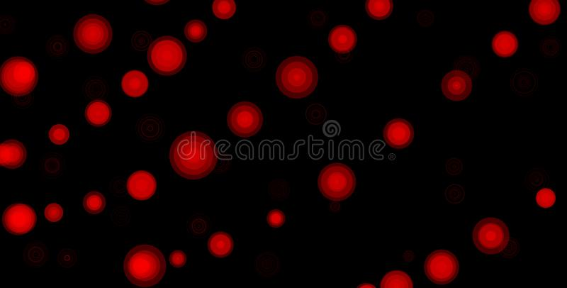 Red circles on black background. Abstract bokeh background illustration. Beautiful red abstract lights. Abstract, backdrop, background, ball, balloon royalty free illustration