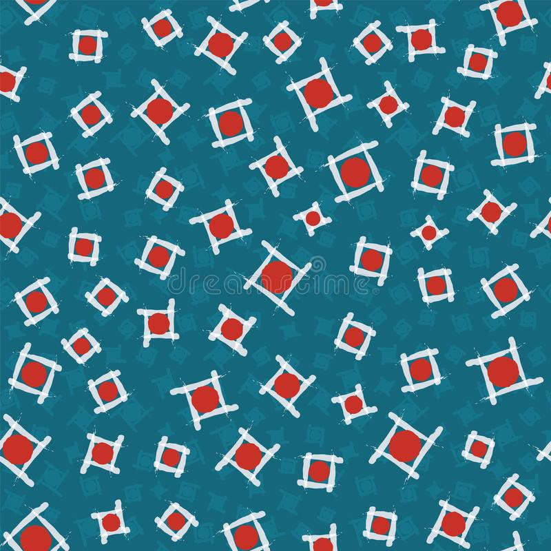 Red circles in squares abstract pattern representing the Japanese flag 现代日本印刷无缝矢量设计 库存例证