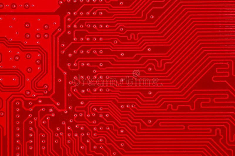Red Circuit Board Texture Background Of Computer Motherboard Stock ...