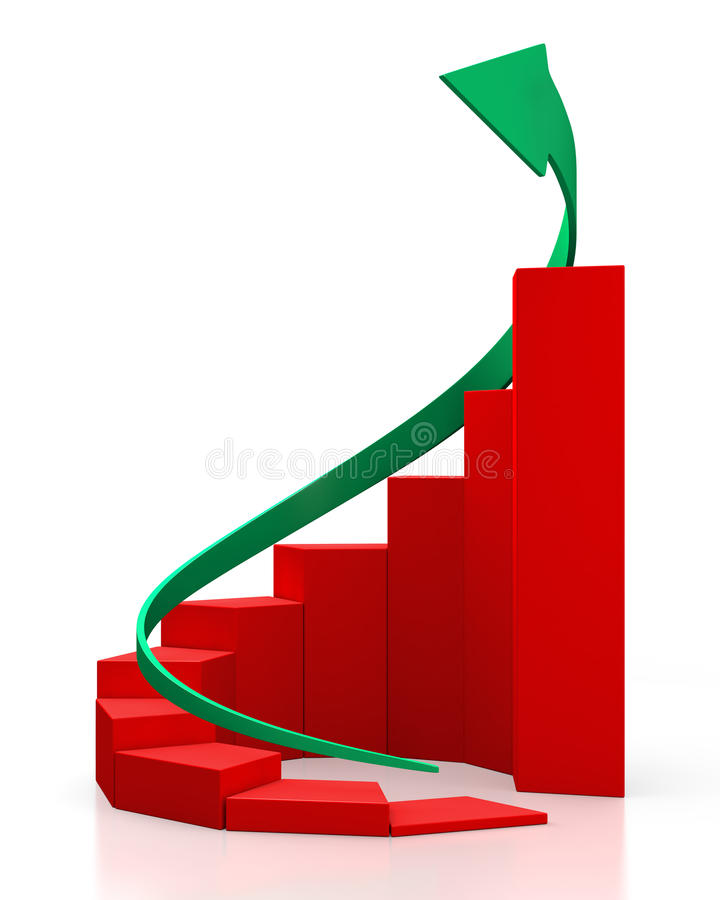 Red circular graph with a green arrow royalty free stock images