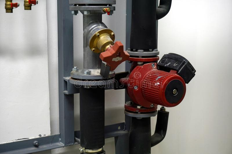Download Red Circulation Pump And A Balancing Valve Stock Image - Image of fuel, valve: 110529403