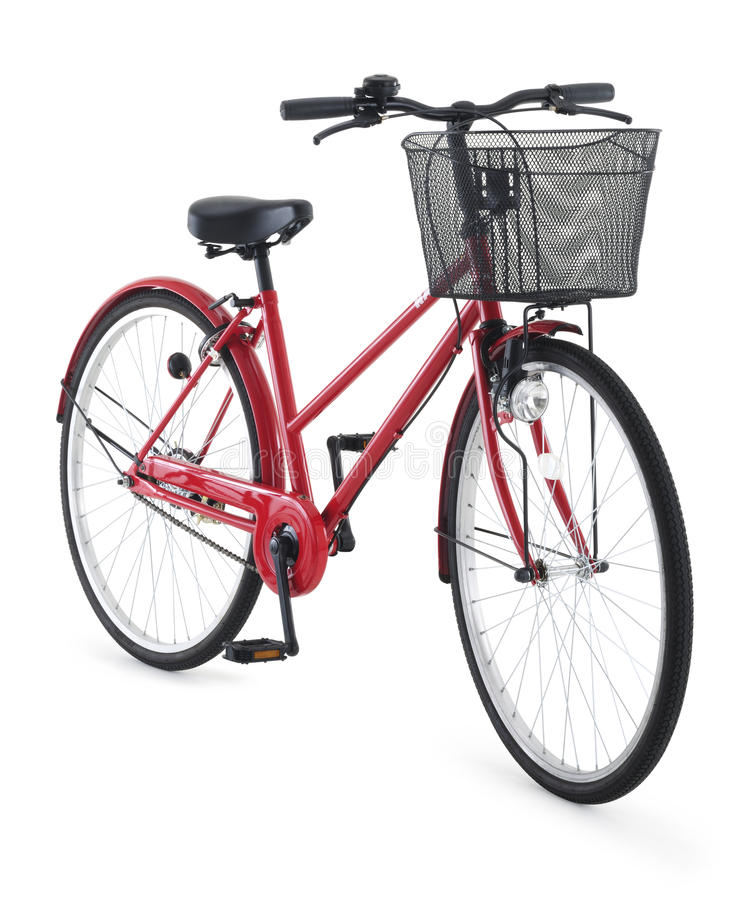 Red city bike. On white background royalty free stock image