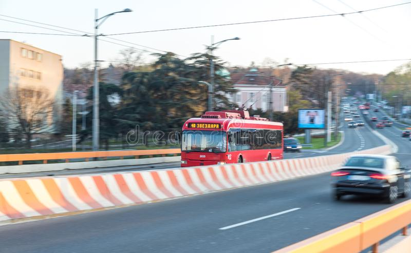 Red city bus as public transportation on the urban streets of the Belgrade town. stock image