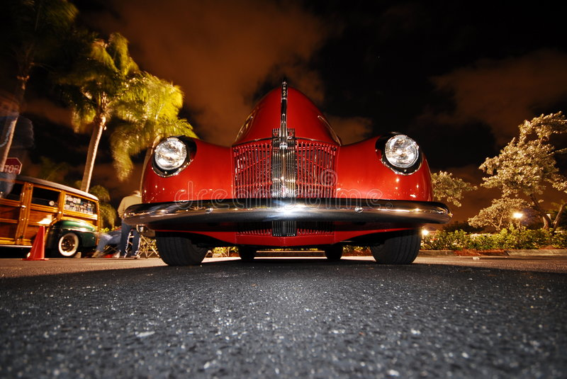 Download Red classic Car stock photo. Image of oldie, night, headlights - 6176650