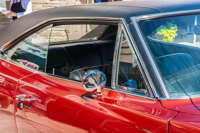 Red Classic car. Red classic sports car on wheels on Wyandotte stock photo