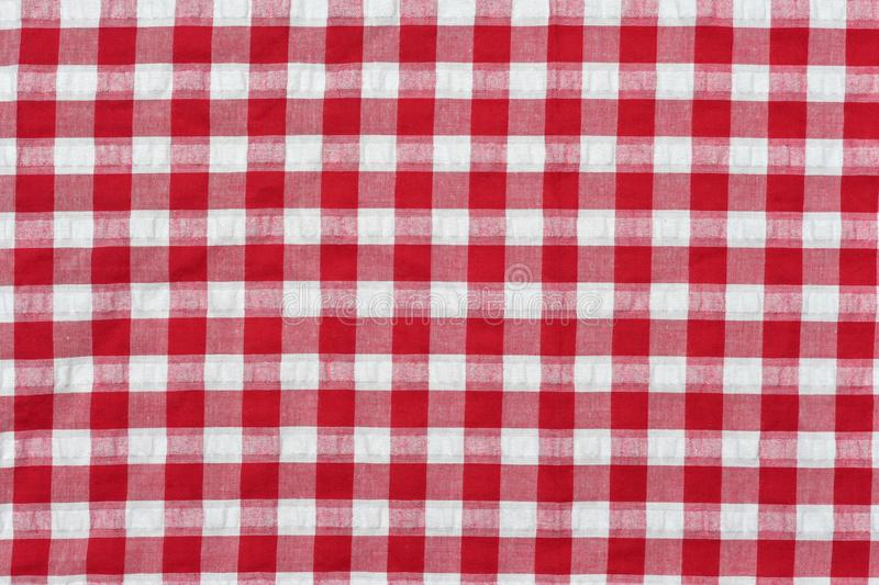 Red classic checkered tablecloth , background with copy space royalty free stock images