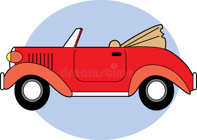 Red Classic Convertible. A Red Classic Converible with the Top Down royalty free illustration
