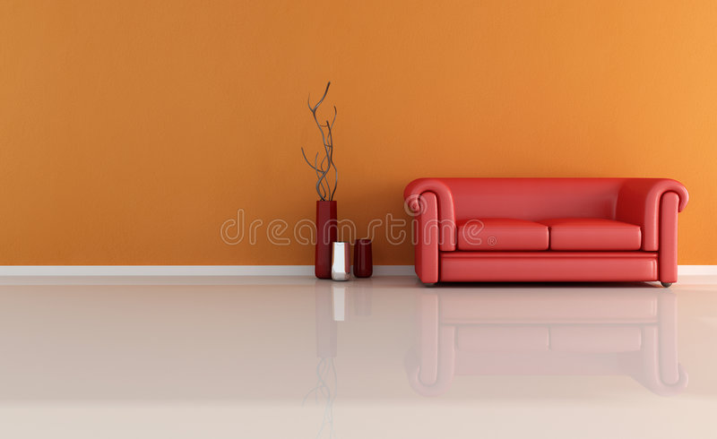 Red classic couch stock photos