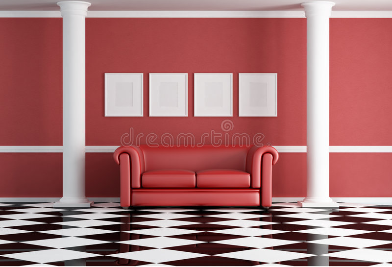 Red classic living room stock illustration